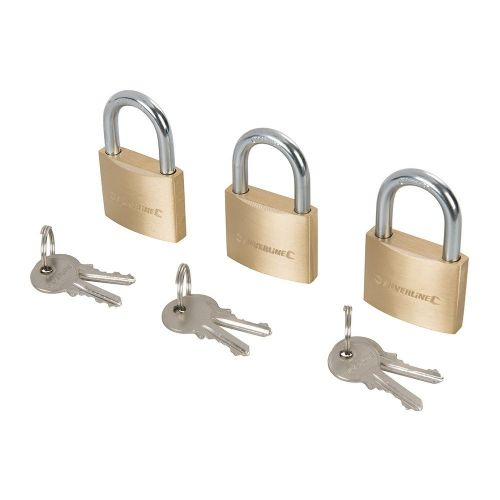 3 Pack Silverline 984411 Brass Padlock Keyed to Differ 40mm